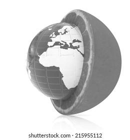 Earth on orange fruit on white background. Creative conceptual image.