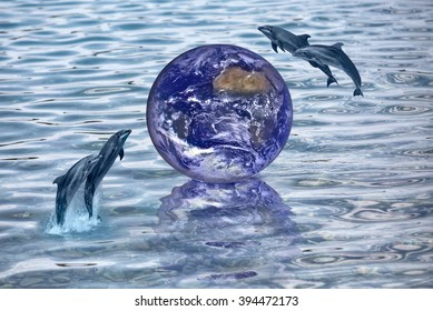 "Earth on the water with wild dolphin ""Elements of this image furnished by NASA"