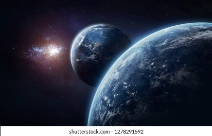 Earth and other planet with atmosphere in deep space. Galaxy on the background. Civilization. Elements of this image furnished by NASA