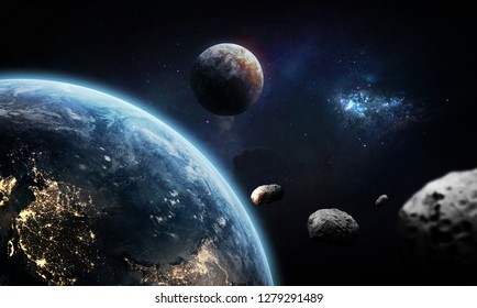 Earth, other unknown planet and asteroids collage. Deep space wallpaper. Galaxy on background. Elements of this image furnished by NASA