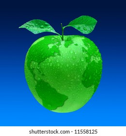 Earth, our home planet as green beautiful apple with leaves and waterdrops.  Isolated