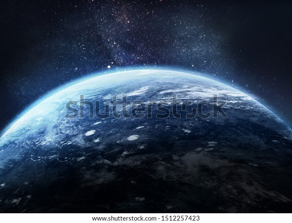 Earth Outer Space Collage Abstract Wallpaper Stock Photo