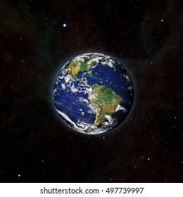 "Earth from outer space with millions of stars around it.""Elements of this image furnished by NASA"