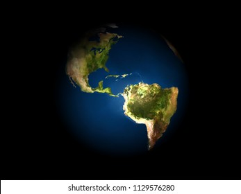 Earth overlooking North and South America on a dark background