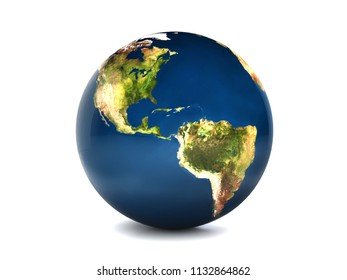 Earth overlooking North and South America on a white background,3D rendering