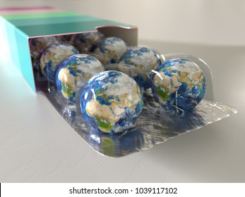 Earth packed like pill, 3d illustration