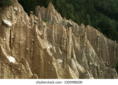 Earth piramides with capstones near Bruneck, Sud-Tirol, in the Italian Dolomites