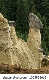 Earth piramides with capstones near Bruneck, Sud-Tirol, in Italian Dolomites
