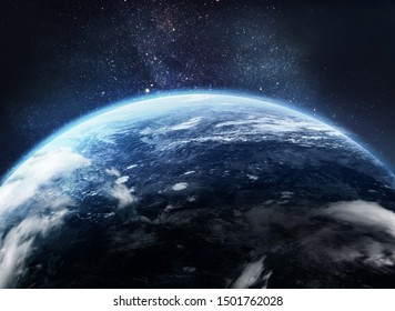 Earth planet. Abstract wallpaper. Ocean and clouds in atmosphere. Blue space art. Civilization. Elements of this image furnished by NASA