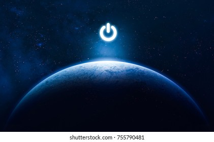 Earth planet in blue gradient style with electric power button. HUD key. On/off light switch. Elements of this image furnished by NASA