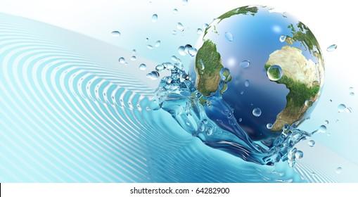 Earth planet falling in water (3d render)