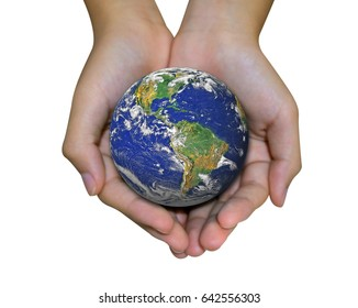 Earth planet in female hand isolated on white - Elements of this image furnished by NASA