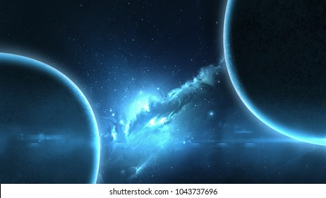 Earth planet in galaxy use for science design fantasy blue shine