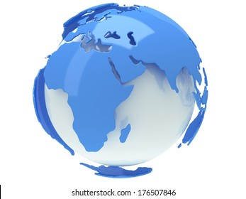 Earth planet globe. 3D render. Africa view. On white background.