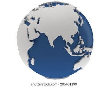 Earth planet globe. 3D render. India view. On white background.