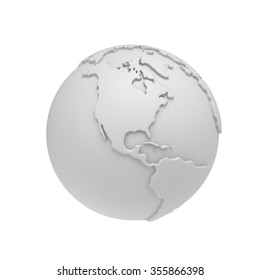 Earth planet globe white and blank 3D render. America view. On white background.