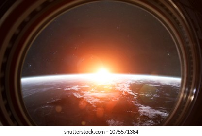 Earth planet in the International Space Station window. Elements of this image furnished by NASA