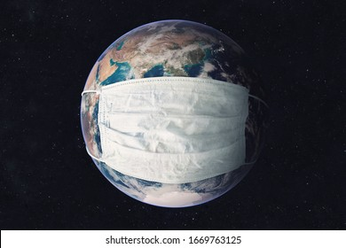 Earth planet in medicine mask to fight against Corona virus. Concept of fight against epidemic and climate change. Pollution of the planet by exhaust gases. Elements of this image furnished by NASA