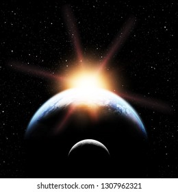 Earth planet and moon in space over galaxy stars. Elements of this image furnished by NASA