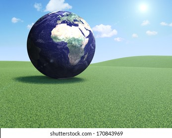 Earth Planet on a Beautiful Landscape with Clouds and Sun. (Elements of this image furnished by NASA)