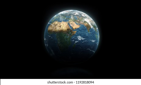 Earth planet on the isolated black background. Elements of this image furnished by NASA