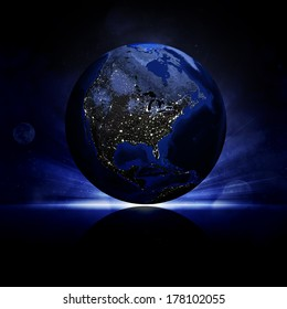 Earth planet on a reflective surface. Elements of this image are furnished by NASA