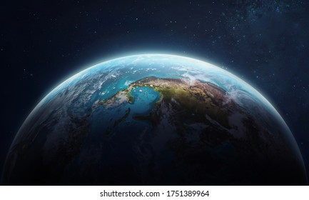 Earth planet in the outer space collage. Abstract wallpaper. Blue marble. Our home. Elements of this image furnished by NASA