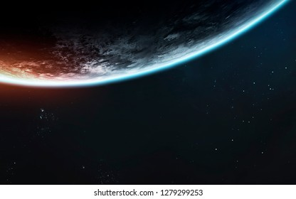 Earth planet scale. Exploration of space. Awesome science fiction render. Elements of this image furnished by NASA