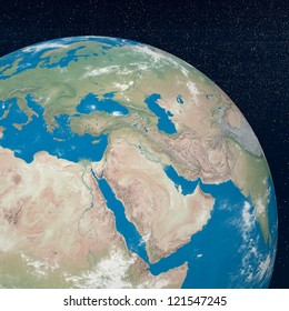 Earth planet showing middle east region in the universe surrounded with plenty of stars