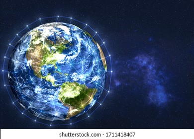 Earth planet of solar system. Data exchange and global network over the world. Science fiction wallpaper. Elements of this image were furnished by NASA.