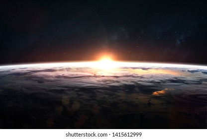 Earth planet sunrise close up orbit shot. Elements of this image furnished by NASA