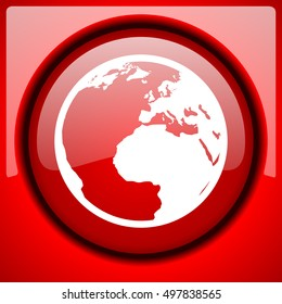 earth red icon plastic glossy button
