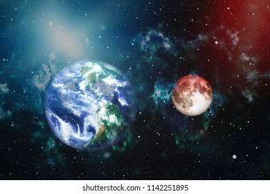 Earth with the red moon. Elements of this image furnished by NASA