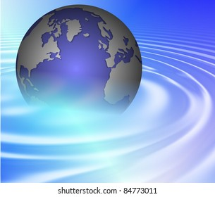 Earth rising from a crystal clear blue water / Earth ripple