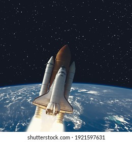 Earth and rocket in space. The elements of this image furnished by NASA.