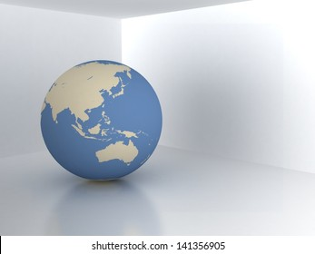 Earth in room. Real estate concept