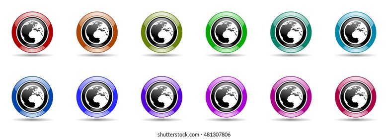earth round glossy colorful web icon set