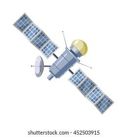 Earth satellite sputnik icon in cartoon style on a white background