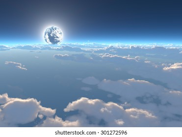 The earth, a sea of clouds