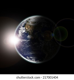 Earth seen from space at sun dawn and stars - Elements of this image furnished by NASA-