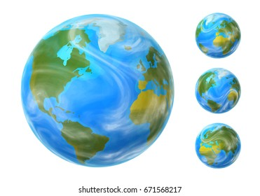 Earth set with different rotation angles isolated on white background