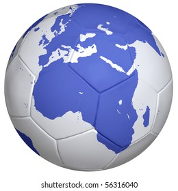 Earth - a soccer ball, Africa, Europe, isolated