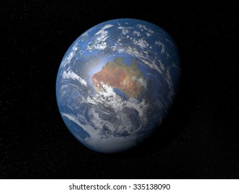Earth from space Australia. Planet Earth in space with stars on the background.
