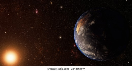 Earth and Space background with yellow sun Elements of this image furnished by NASA
