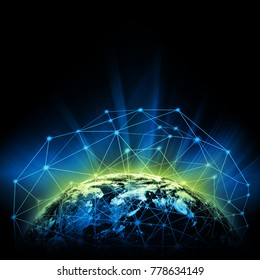 Earth from Space. Best Internet Concept of global business from concepts series. Elements of this image furnished by NASA. 3D illustration. Symbol of travel, internet, technology and communication