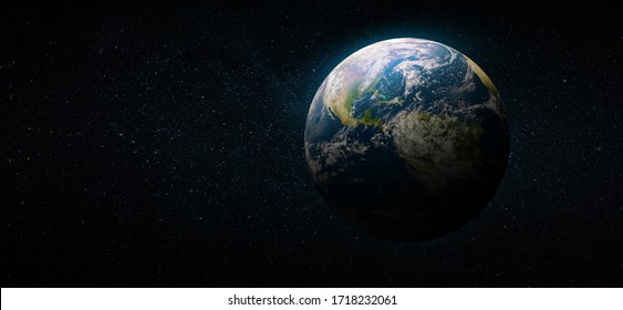 Earth in the space. Blue planet for wallpaper. Green planet or Globe on galaxy. Elements of this image furnished by NASA