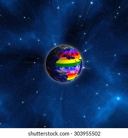 Earth From Space. Continents Colored In LGBT Colors. Elements of this image furnished by NASA