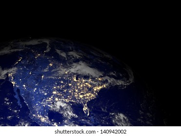 The Earth from space at night. Elements of this image furnished by NASA. Other orientations available.