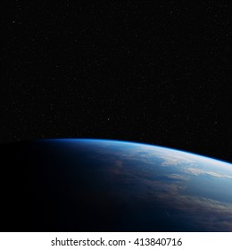 The Earth in space at night. Elements of this image furnished by NASA.