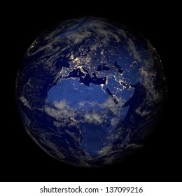 The Earth from space at night isolated on black. Elements of this image furnished by NASA. Other orientations available.
